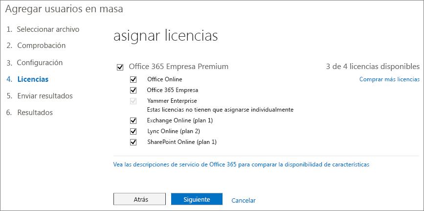 Paso 4 del asistente para Agregar usuarios en masa: licencias
