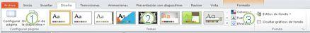 La ficha Diseño en la cinta de PowerPoint2010.