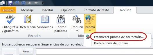 Cinta del mensaje de Outlook, ficha Revisar, Idioma