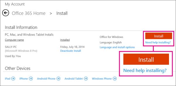 """Captura de pantalla de la página de instalación con el botón """"Instalar"""" y el vínculo """"¿Necesita ayuda para instalar?"""" seleccionados."""