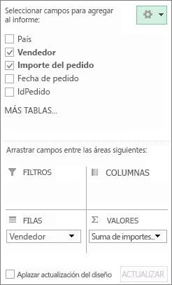 Lista de campos que muestra una sección de campo y una sección de áreas