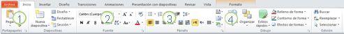 La ficha Inicio en la cinta de PowerPoint2010.