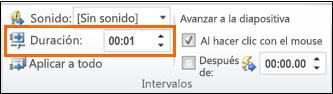 En el cuadro de texto Duración del grupo Intervalos, escriba la cantidad de segundos que desea que dure la transición.