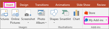 Muestra Insertar > Mis complementos en la cinta de PowerPoint