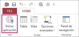 El botón Iniciar aplicación de la pestaña Inicio.