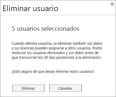 Captura de pantalla del menú Eliminar usuario que se muestra al seleccionar varios usuarios.
