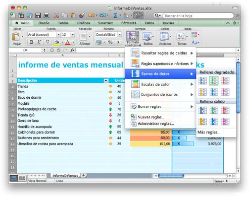 Excel con opciones de Formato condicional