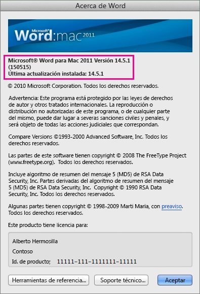 Word para Mac 2011 que muestra página Acerca de Word