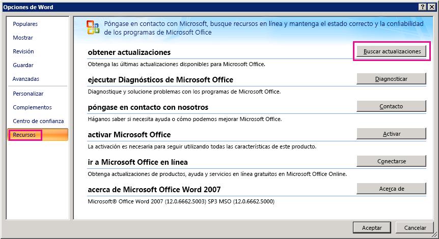 Buscar actualizaciones de Office en Word 2007