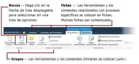 Información general de la cinta de SharePoint