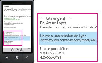 Captura de pantalla en la que se muestra la solicitud Unirse a la reunión de Lync en el cliente móvil de Lync