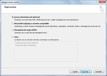 Opción Elegir servidor en el cuadro de diálogo Agregar nueva cuenta