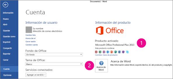 Archivo > Cuenta de Word 2013