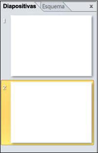 Panel que contiene las fichas Diapositivas y Esquema
