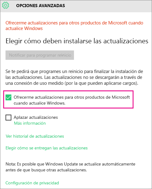 Opciones avanzadas de Windows Update