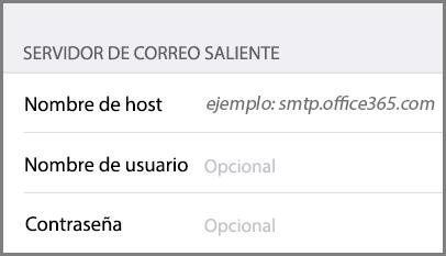 Configuración del servidor de correo saliente