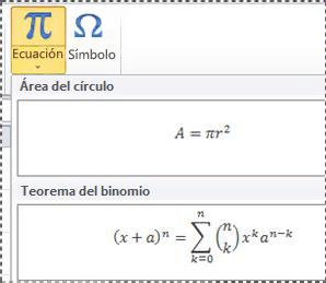 Ecuaciones con formato previo en la lista de ecuaciones