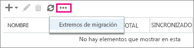 Seleccione Extremo de migración.