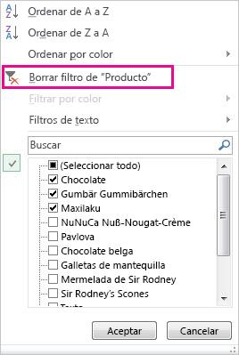 Galería de filtros con el comando Borrar filtro