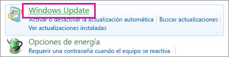 Vínculo de Windows Update del Panel de control