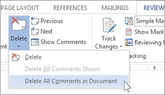 Comando Eliminar todos los comentarios del documento en el menú Eliminar comentarios