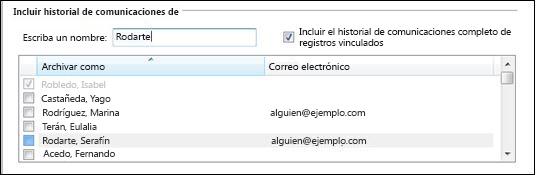 sección de nombres del historial de comunicaciones del filtro