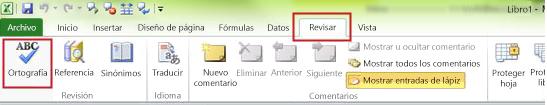 Comando Ortografía de Excel
