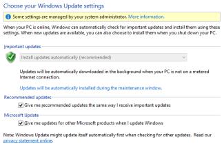 Configuración de Windows Update de Windows 8 en el Panel de control