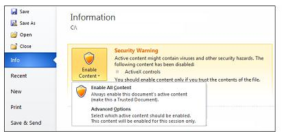 Advertencia de seguridad, convertir un documento en confiable