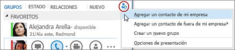 En la ventana principal de Lync, haga clic en el botón Agregar un contacto.