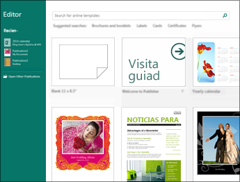 Captura de pantalla de las plantillas de introducción en Publisher.