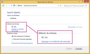 Agregar método de entrada de Office 2016 en Windows 8