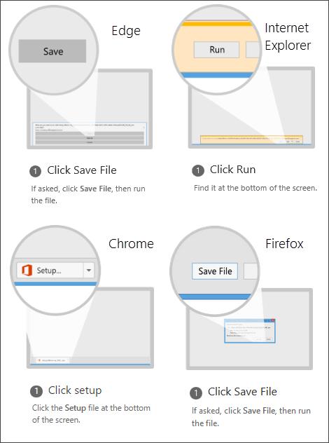 Opciones del explorador: en Internet Explorer, haga clic en Ejecutar; en Chrome, haga clic en Configuración; y en Firefox, haga clic en Guardar archivo