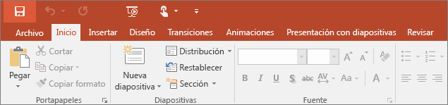 Shows the home tab on the ribbon in PowerPoint