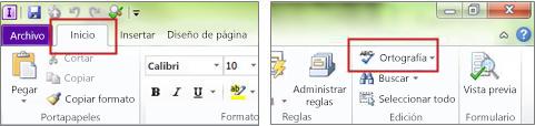 Comando Ortografía de InfoPath Designer