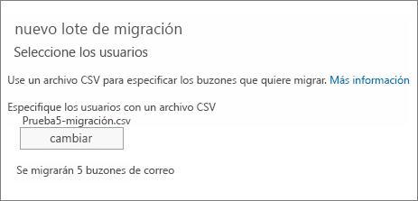 Nuevo lote de migración con archivo CSV