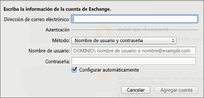 Introduzca la información de su cuenta de Exchange