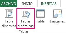 Tablas dinámicas recomendadas en la pestaña Insertar de Excel