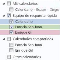 Grupo de calendarios en el Panel de navegación