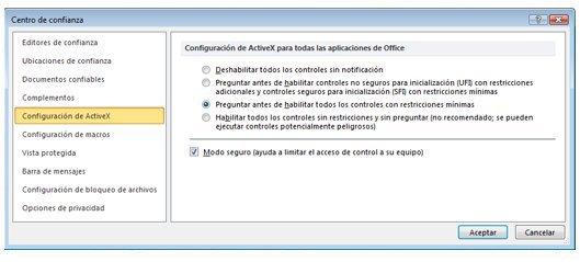 Área Configuración de ActiveX del Centro de confianza