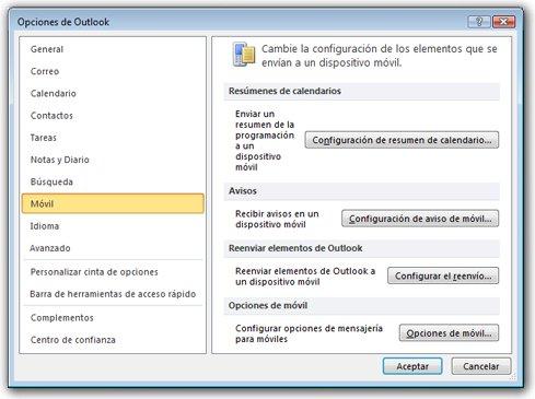 Menú de configuración de notificación de texto