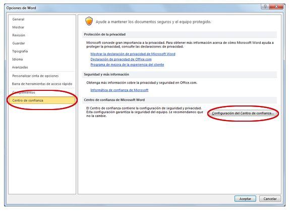 Opciones de Word donde se muestra la pantalla Configuración del Centro de confianza