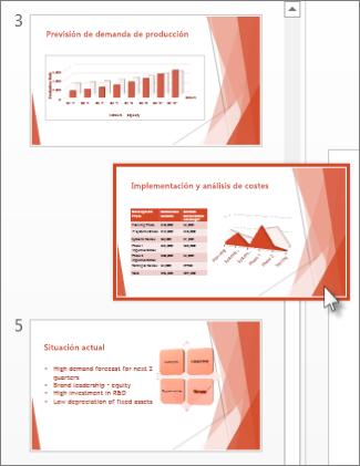 Arrastre una diapositiva de PowerPoint a una nueva ubicación.