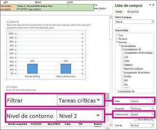 Informe Información general del proyecto con panel Datos del gráfico abierto