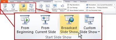 Difundir presentación de diapositivas, en el grupo Iniciar presentación con diapositivas, en la ficha Presentación con diapositivas de PowerPoint 2010.