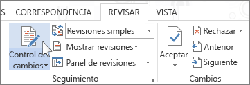 Control de cambios en la cinta de opciones de Word