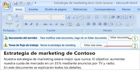 Documento abierto con dos botones: Editar documento y Editar esta tarea