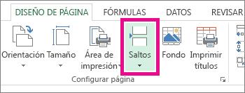 Haga clic en Saltos en la pestaña Diseño de página