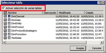 cuadro de diálogo Seleccionar tabla
