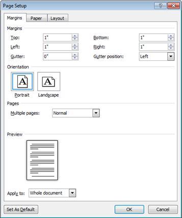 Cuadro de diálogo Configurar página
